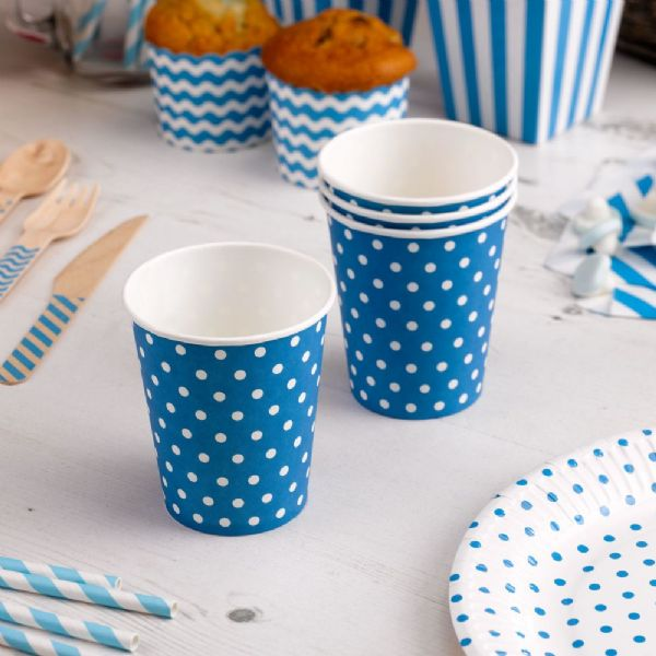 Carnival Blue Paper Cups - Dots (8)